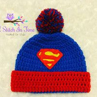 Crochet Beanie Ideas Superman Crochet Beanie/Hat with Trim and Pompom PDF Pattern Newborn-Adult Sizes Crochet Baby Hats Free Pattern, Crochet Hats For Boys, Free Crochet, Knitting Patterns, Crochet Patterns, Free Knitting, Crochet Beanie Hat, Knitted Hats, Superman Crochet
