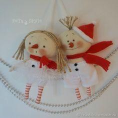 Купить Олаф и Подружка Снеговики Текстильные куклы Игрушки на Елку в интернет магазине на Ярмарке Мастеров