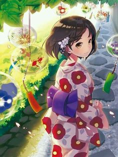 Find images and videos about girl, anime and kawaii on We Heart It - the app to get lost in what you love. Anime Girl Kimono, Anime Girl Cute, Beautiful Anime Girl, Kawaii Anime Girl, I Love Anime, Anime Art Girl, Manga Art, Anime Girls, Persona Anime