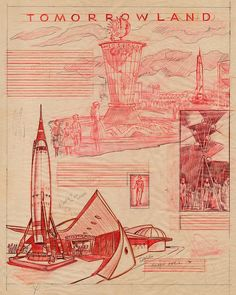 Disney's sketches for Tomorrowland theme-park, 1955.  Note the Athena-like dresses and the rocket to the Moon.