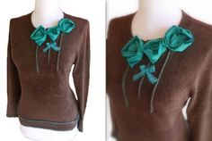 Contrast Rosette Sweater M by RebeccasArtCloset on Etsy