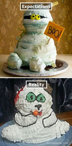 Expectations Vs Reality: 30 Of The Worst Cake Fails Ever Baking Fails, Bad Cakes, Pasta Cake, Expectation Reality, Funny Cake, Pinterest Fails, Muffin Tins, Quick Easy Meals, No Bake Cake