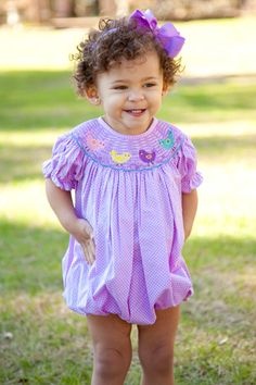 Easter chick smocked bubble
