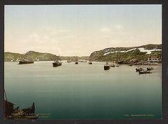 [General view, Port Catherine, Kola Peninsula, Russia], ca 1890-1900 Kola Peninsula, White Sea, Russia, River, Outdoor, Color, Art, Outdoors, Art Background