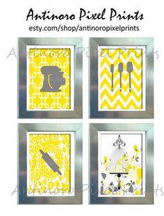 Yellow White Grey Unframed Kitchen Utensils Art Collection  -Set of (4) - 8x11 Prints