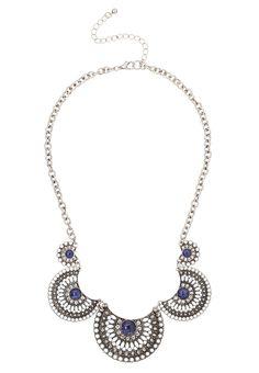 dark blue scalloped statement necklace