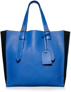 $250, Blue Leather Tote Bag: Reed Krakoff Cobalt Krush Tote. Sold by Rent The Runway. Click for more info: https://lookastic.com/women/shop_items/216066/redirect