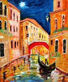 Original oil painting Venice Italy painting by by Karensfineart, $199.00