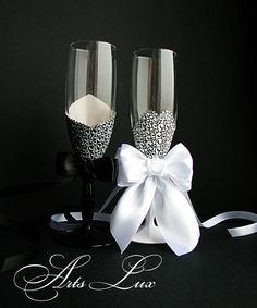 Elegant Champagne wedding glasses Bride and Groom by ArtsLux, $46.00
