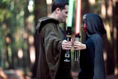 star wars wedding ideas - Break them out for a non-traditional engagement photo, like this couple did: Bridal Guide Magazine - Photo by Michael James Photography