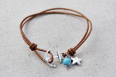 Anchor Bracelet  Silver Charm Bracelets  Brown Leather Bracelet Handmade Jewelry #Handmade #Fashion