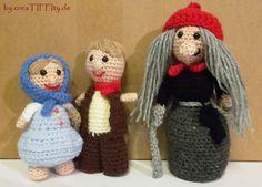 Figuren Hänsel, Gretel und die Hexe. Häkelanleitung von creaTIFFIty.de #Häkeln #Häkelanleitung #DIY #creaTIFFIty #Makerist #MyBoshi