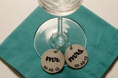 Custom Wedding Wine Charms |  Handmade Wedding Charms via http://emmalinebride.com/decor/handmade-wedding-charms/