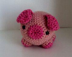 Crocheted Stuffed Pig / Piglet - Amigurumi, Toy, Plush