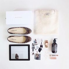 The delightful Vydia Rishie, fashion blogger of The VR Verdict, styled this amazing flat lay, showing off her long weekend favourites. It features our Ines leopard print pony-hair ballet flats by La Baccarina. Photography was taken from her Instagram profile (@Vydia). http://ballettonet.co/la-baccarina-ines-leopard-pony-hair-ballet-flats/