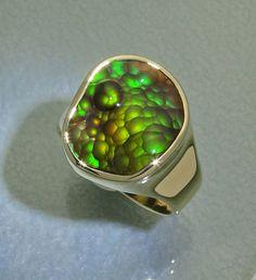 Extra fine fire agate ring by Glenn Dizon Designs
