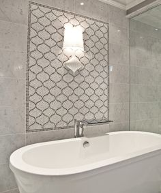 marble tile wall + gray arabesque accent tile