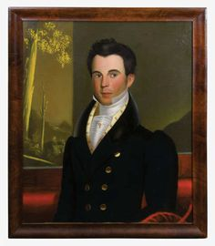 19th C. Portrait of Young Gentleman - 19th c. oil on canvas portrait of Jonathan Holman, possibly by John S. Blunt (1798-1835, The Borden Limner), see Nina Fletcher Little Little By Little, NY, 1984, Fig. 151, exhibited at the Morris Museum, NJ Collector Series, April-June 1991, The Fertig Folk Art Collection, relined, 30 1/4″ x 25 1/4″ (sight), 34″ x 28 3/4″ (frame), (ex. Fertig collection).
