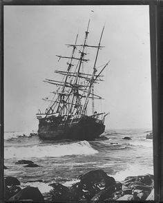 Last of the famous whaling fleet Wanderer wrecked off Cuttyhunk, Nantucket.