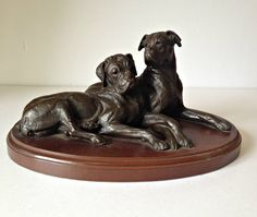Vintage Boxer Dog Figurine, 2 Boxer Dogs, Dogs Laying Down, Dogs On Wooden Plinth, Canine Companions, Bronze Boxers, Mounted Boxer Dogs by CreationsOfOlde on Etsy