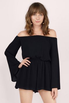 The Keepin' It Casual Romper keeps it short and sweet. This simple off shoulder romper has an elastic waist and bell sleeves. Looks great with sandals for day or heels and a moto jacket by night.