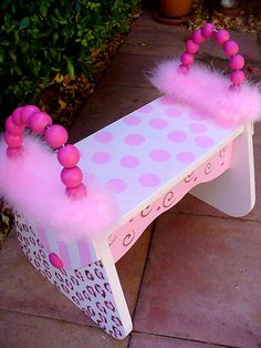 Bubbles and Company Pink Cheetah Hand Painted Purse Foot Stool Home Crafts, Crafts For Kids, Diy Crafts, My Baby Girl, Pink Girl, Kids Furniture, Furniture Update, Painted Furniture, Time Out Chair