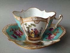 Century Gorgeous Dresden Cup and Saucer by charity Antique Tea Cups, Vintage Cups, Vintage Tea, Dresden China, Teapots And Cups, Teacups, China Tea Cups, Tea Service, My Cup Of Tea