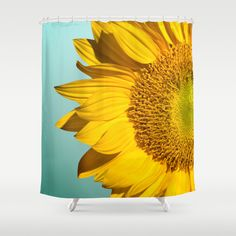 Rustic Sunflower Teal Wood Shower Curtain