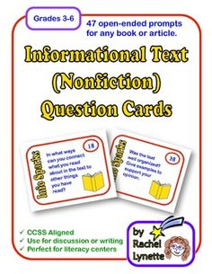 Informational Text (Nonfiction) Question Cards for Any Text! Use with book, articles, Time for kids, Scholastic news etc. Common Core Standards addressed are listed in the document. 47 cards for just $4.