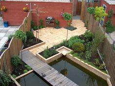 Kleine strakke tuin met weinig onderhoud kleine tuin for Tuinontwerp schuine lijnen