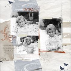 Time Flies...gorgeous monochromatic color palette on this sweet childhood layout.