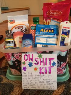 Oh Shit Kit. Hangover kit for the next morning/day 30th Birthday Gifts, Birthday Presents, It's Your Birthday, 21st Birthday Basket, 21st Gifts, Happy Birthday, 30th Birthday Ideas For Girls, Birthday Gifts For Sister, Birthday Crafts