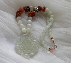 Jade pendant & carved carnelian bead w new jade beads necklace , light green jade pendant , jade jewelry , jade prosperity talisman w amber by TheJadeMerchant on Etsy