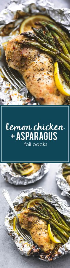 Easy Healthy Lemon Chicken & Asparagus Foil Packs | lecremedelacrumb.com