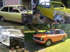 """Mikon urakka alkoi siitä, kun hän hankki marraskuussa 2014 vuoden -73 Toyota Corollan KE20:n. Puoli vuotta meni kuulemma omassa tallissa hitsaukseen, hiekkapuhaltamiseen ja maalaamiseen. Pohjamaaliksi Mikko laittoi epoksia ja pintaan Mipan maalin. Väriksi tuli onnistuneesti """"Deep Orange"""". Mikko maalasi ensimmäisen autonsa. Hienon näköinen!"""