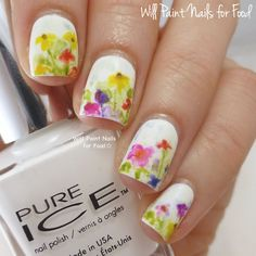 Will Paint Nails for Food: The Digit-al Dozen Does Nature, Day Two: Floral Watercolour