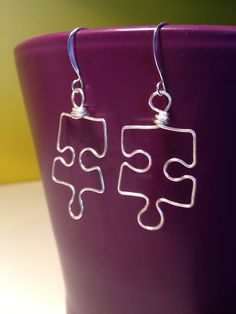 Puzzle Piece Earrings Wire Earrings Wire Wrapped Jewelry Autism Awareness Jewelry Wire Wrap Earrings Silver Wire