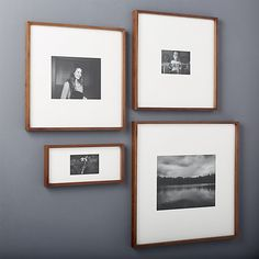 Exhibit your favorite photos gallery-style. Creating a display of modern proportions, oversized white mat floats your photos within a sleek frame of warm walnut. Collage Frames, Photo Wall Collage, Frames On Wall, Picture Wall, Framed Wall Art, Picture Collages, 11x14 Picture Frame, Modern Picture Frames, Modern Pictures