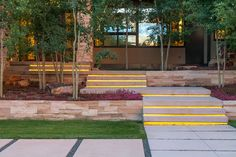 Norwood Residence - modern stairs, aspen tree planting, buff sandstone walls, lawn terrace with mountain meadow views : : R DESIGN land architects in New York and Colorado
