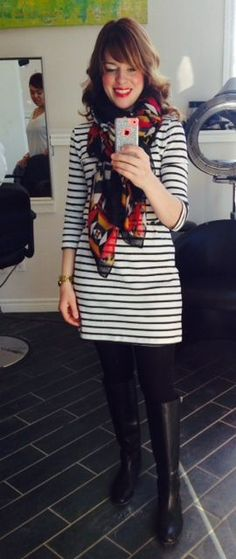 7710979cf0abf Style Striped Dress Outfit, Dress Ootd, Stripe Dress, Dresses With  Leggings, Dress