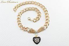 Pilar  heavy golden links with 7 golden strands by #LoveChristines #love #fashion #necklace #heart, #Etsy
