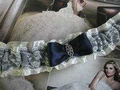 Ivory and Navy Blue Garter by bridesstudio on Etsy