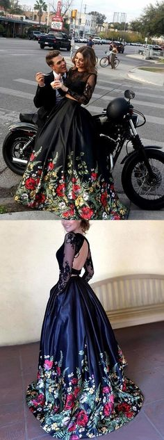 c469c5b84a6d Two Piece Round Neck Long Sleeves Black Floral Satin Prom Dress With  Lace,Cheap Evening Dress,Custom Made,Party Gown