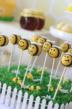 CAKE POPS at a 1st Bee-Day Party with Such Cute Ideas via Kara's Party Ideas | KarasPartyIdeas.com #HoneybeeParty #Party #Ideas #Supplies #beecakepops