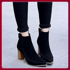 Damen Stiefel Comfort Suede Spring Casual Grau Schwarz Flat, Schwarz, US4-4.5 / EU34 / UK2-2.5 / CN - Sportschuhe für frauen (*Partner-Link)