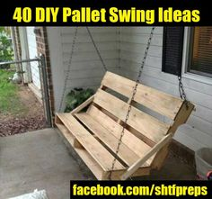 Old Pallets Ideas Pallet Swing Bench - You can hang a pallet porch swing from the ceiling and enjoy a quite morning coffee. Dangle a pallet swing bench from a sturdy tree in the yard so the kids can Pallet Crafts, Diy Pallet Projects, Pallet Ideas, Old Pallets, Wooden Pallets, Pallet Wood, Pallet Benches, Pallet Bar, Pallet Shelves