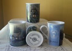 Vintage Thomas Kinkade, Coffee Mugs, Signature Collection, Lightpost, Cottages, Morning Glory, Chandler's, Merritt's, Julianne's, Set of 4 by BrindleDogVintage on Etsy