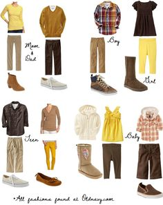 what to wear- yellow, brown, neutrals Clothing Photography, Photography Guide, Family Photography, Family Outfits, Other Outfits, What To Wear Fall, How To Wear, Kids Sportswear, Color Combinations For Clothes
