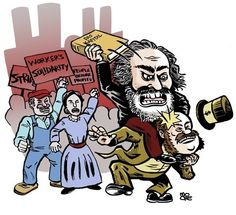 Karl Marx  [follow this link to find a bundle of clips, which are useful for elucidating the many ideas of Karl Marx: http://www.thesociologicalcinema.com/1/category/marxmarxism858841b2ca/1.html]  Artist: Kevin Moore (Find more of Kevin Moore's work at http://mooretoons.com/)