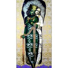 Dolna code: KIR002 Magic flute-5 by Kishore Roy. Acrylic on canvas, 72 x 36 (inches), Price INR 2,16,000